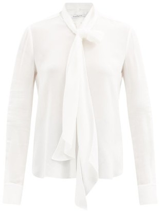 Another Tomorrow - Tie-neck Crepe Blouse - Womens - White