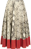 Gucci Pleated Snake-effect Leather Skirt - Red