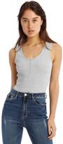 Missguided Popper Sleeveless Ribbed Bodysuit