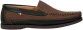 Yours Clothing D555 Brown Slip On Shoe With Black Trim