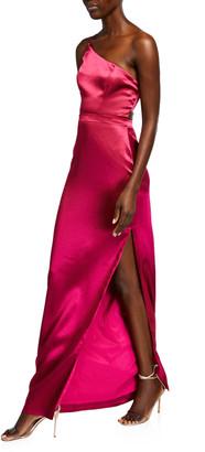 Aidan Mattox One-Shoulder Long Satin Dress