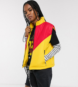 Reclaimed Vintage inspired puffer vest in colourblock-Yellow