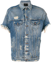 R 13 frayed shortsleeved denim jacket - men - Cotton/Spandex/Elastane - L