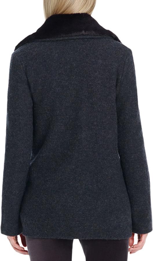 Jones New York Long Sleeve Pea Coat with Faux Fur Collar