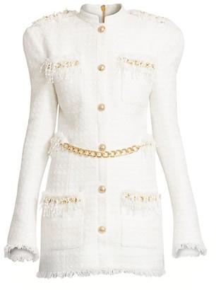 Balmain Chain-Trimmed Tweed Dress