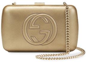 Gucci Broadway Metallic Leather Minaudiere Clutch Bag, Pale Gold