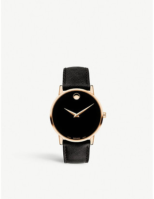 Movado New Museum rose gold-plated and leather strap watch