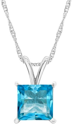 Sterling Silver 2.50 cttw Swiss Blue Topaz Pendant with Chain