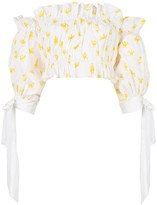 Carolina Herrera printed off shoulder cropped top