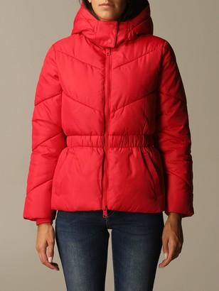 Armani Exchange Detachable Hood Down Jacket With Logo Elastic Waist