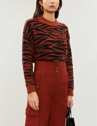 Whistles Tiger-patterned knitted jumper