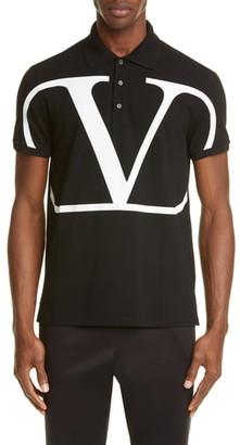 Valentino V-Logo Black Short Sleeve Pique Polo