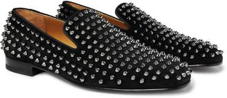 Christian Louboutin Rollerboy Spikes Grosgrain-Trimmed Suede Loafers