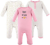 Hudson Baby Pink & Gold Pin Dots 'Heart Of Gold' Playsuit Set - Infant