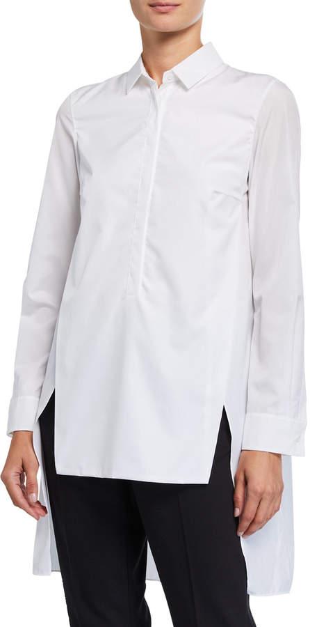 Akris Long Button-Front Cotton Poplin Tunic Blouse