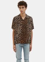 Saint Laurent Men's Leopard Print Short Sleeved Shirt In Brown