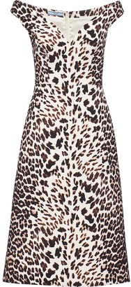 Prada Leopard-Print Cady Dress