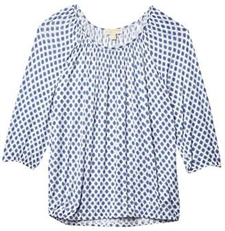 MICHAEL Michael Kors Size Classic Mini Medallion Peasant Top (White) Women's Clothing