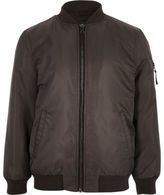 River Island Boys dark grey padded bomber jacket
