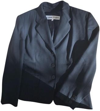 Cerruti Black Wool Leather Jacket for Women Vintage