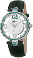 Burgi Womens Green Crystal Green Leather Strap Watch