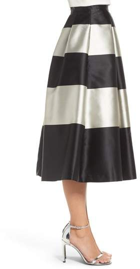 Eliza J Women's Stripe Pleated Midi Skirt