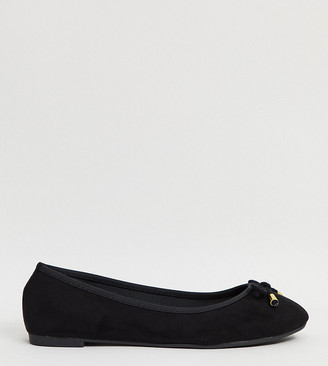 Simply Be wide fit metallic ballet pumps in patent black