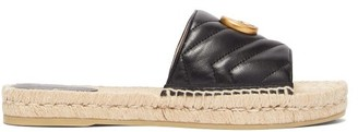 Gucci GG Matelasse Leather Espadrille Slides - Black