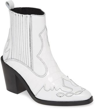 Kurt Geiger London Damen Snakeskin Embossed Leather Chelsea Boot