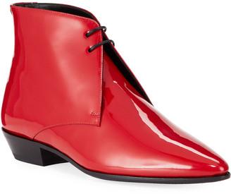 Saint Laurent Men's Jonas Patent Leather Point-Toe Chukka Boots