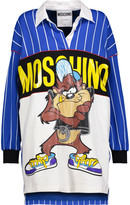 Moschino Tasmanian Devil appliqued striped ponte mini dress