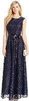 Tahari ASL Floral Applique A-Line Gown