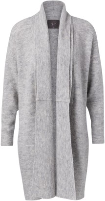 Ya-Ya Long Double Collar Cardigan - Light Grey Melange - extra small | alpaca wool | light gray - Light grey