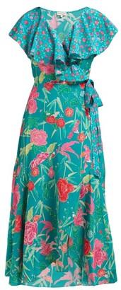 Beulah Ratna Floral-print Silk-crepe Wrap Dress - Green Multi