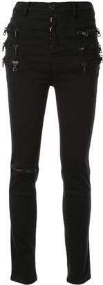 Unravel Project Zip-Embellished Skinny Jeans