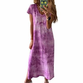FeMereina Women's Tie Dye Dresses Plus Size Summer BohoPrint Dress Loose Mini Dress Holiday Beach Party T Shirt Dress Minidress Beachwear (Blue Medium)