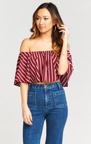 MUMU Heidi Ruffle Crop ~ Seventies Stripe Pebble