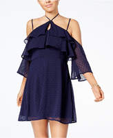 Trixxi Juniors' Ruffled Cold-Shoulder Dress