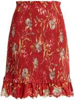 Zimmermann Corsair Iris shirred linen and cotton-blend skirt