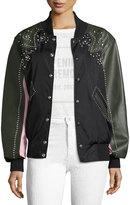 Opening Ceremony Studded Western Mixed-Media Varsity Leather Jacket