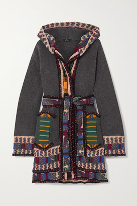 Etro Hooded Belted Embroidered Wool-blend Jacquard Cardigan - Charcoal