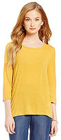 Jones New York Keyhole Drape-Back Hi-Low Knit Top