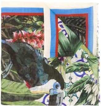 Dolce & Gabbana Jungle Maiolica print scarf