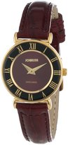 Jowissa Women's J2.043.S Roma 24mm Gold PVD Maroon Dial Roman Numeral Leather Watch