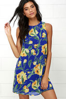 LuLu*s Bloom and Board Blue Floral Print Dress