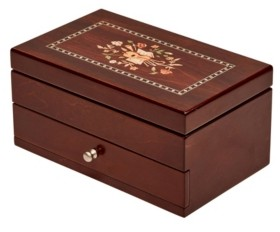 Mele Brynn Wooden Jewelry Box with Florentine Marquetry Motif