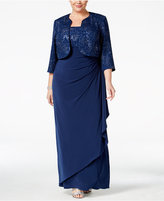Alex Evenings Plus Size Metallic Empire Gown and Jacket