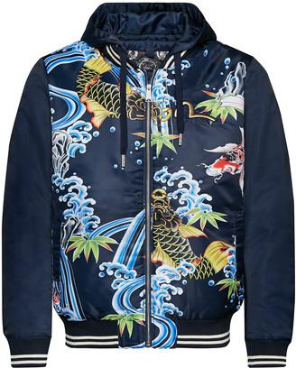 Evisu Color Blocking Zip-up Jacket With Carp Graphic Print