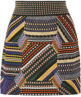 Missoni Paneled Metallic Stretch-knit Mini Skirt - Teal
