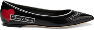 Dolce & Gabbana Appliqued Printed Leather Point-toe Flats